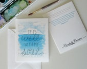 It Is Well With My Soul Illustrated Watercolor Card on white matte card stock with white envelope