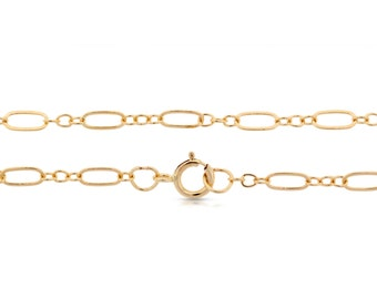 14Kt Gold Filled 5.6x2.6mm 18Inch Long an Short Flat Cable Chain - 5pcs Made in USA 20% discounted lowest price (5548)/5