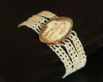 Hand Woven Seed Pearl Bracelet with Victorian Clasp. Perfect for bridal jewelry.