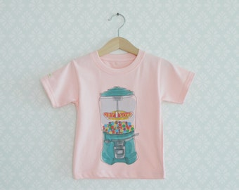 Baby Girl Tshirt, Retro Gums Machine Tshirt, Tshirt for little girls, Vintage inspiration Pink Tshirts