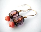 Pink rose glass earrings: Call Me Your Flower- drop earrings, pink rose, pink earrings, rose earrings, romantic earrings, pink jewelry