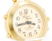 "Marcel Drucker quartz ""talking"" alarm pendant-style vintage watch, heavy gold-toned & stainless steel round case"