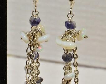 Multi Gemstone Earrings  Iolite, Australian Opal , Long Chandelier Earrings