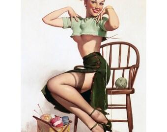Knitting Girl Pinup Card - Elvgren Pinup Girl Greeting Card