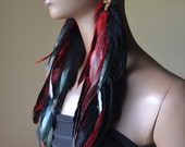Very Long Red and Iridescent Black Feather Earrings