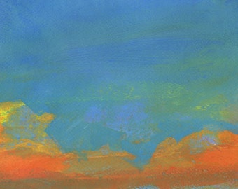 Original abstract sunset skyscape painting - Sky three-solace