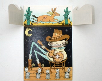 Digital Art Print - Pop Up Card - Illustration - Cowboy playing guitar - desert landscape