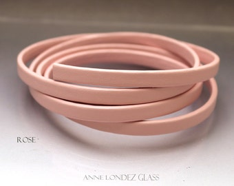 1 ft Flat recycled leather strap pink 6x2.5mm flat leather cord Flat cord stringing supplies 6mm upcycled