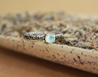Moonstone Engagement Ring With Smoke Swirl Band in Sterling Silver - Engagement Ring, Promise Ring, June Birthstone Ring