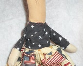 Americana, Doll, Shelf Sitter, Wall Hanger, Tuck, Faceless, Folk Art, Original Design, Plain, Simple, Patriotic, SCOFG