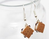 S'mores Dangle Earrings - Miniature food jewelry - Silver Plated Surgical Steel