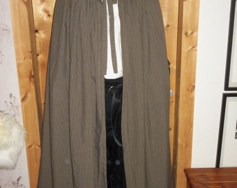 Cloak of suit weight brown wool blend fabric