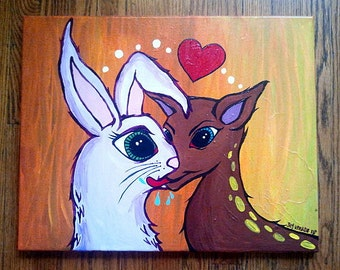 It Must Be Love- bunny and deer acrylic painting on canvas