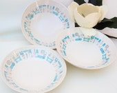 Mid Century Serving Bowls / 1960s Blue Heaven Royal China / Large Bowls Blue White Set of 3