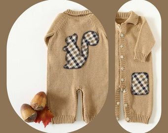 Knitted overalls. Camel. Polo Neck. Fabric Squirrel. 100% merino wool. READY TO SHIP size newborn