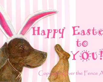 Easter CARD, Dog Easter Greeting Card Chocolate Labrador Chocolate Easter Bunny Funny Fine Art Card