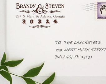 Custom Address Stamp - Personalized Address Stamp - Couple Stamp - Two Name Stamp - Vintage Text - Housewarming - DIY Addressing - Gifts
