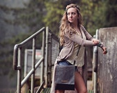 Carmen Cross Body Hand Bag in Charcoal Waxed Canvas with Leather
