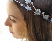 Boho Flower Hair wreath Bridal Halo White Gray floral crown Woodland Rustic Wedding Headpiece Bridesmaids hair Accessory Flower Girl circlet - JoolaDesigns