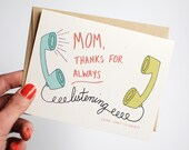 Funny Mothers Day Card - Mother's Day Card - Card for Mom - Mom Thanks for Always Listening Even When I'm Crazy