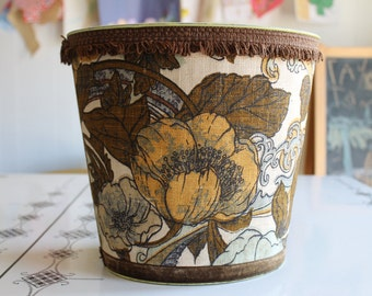 Vintage J.V. Reed & Co Metal Upholstered Waste Basket Trash Can Floral  Nice