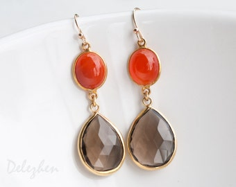 Smokey Quartz Earrings - Orange Carnelian earrings - Gemstone earrings - Gold drop earrings - Dangle Earrings
