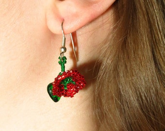 Beadwork Rose Earrings