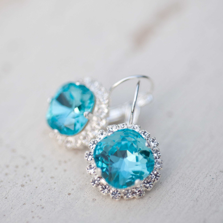 Aqua Blue Earrings Turquoise Flower Swarovski crystals