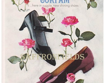 Mod Shoes Wall Art 3 Pages Instant Collection 1967 Magazine Ads Corfam Shoes, Pink Roses Classic Men & Women Shoes Fall Gift Idea