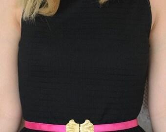 Fuchsia Waist Belt - Gold Belt - Bridesmaids Belt - Stretch Belt - Dress Belt - Bridesmaid Accessories - Skinny Belt