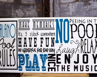 Personalized Pool Rules for Swimming Pool on Wood Outdoor Sign 5 o'Clock Somewhere