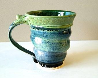 Mug, Tall Mug, Coffee Mug, Tea Mug, Green Blue and Black