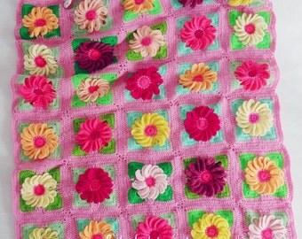 Crochet Blanket Floral crochet pattern - Gerbera 3D Flower granny square - photo tutorial girl floral blanket - Instant DOWNLOAD