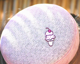 Pastel pink ice cream cone small button summer cocktail hat