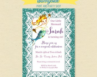 Mermaid Princess Birthday Invite - Printable Mermaid Invitation