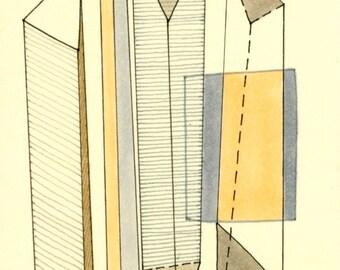 "ACEO 001: 5""x7"" PRINT of original geometric drawing grey beige tan black"