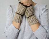 Beige Fingerless gloves Crochet, Arm Warmers,Crochet fingerless gloves,Handmade Crocheted Gloves For Her Fashion Accessories