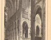 1888 Interiors and Ornaments of European Cathedrals Original Antique Engraving to Frame