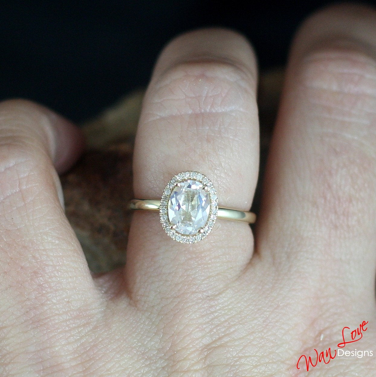 White Sapphire Amp Diamond Halo Engagement Ring Oval Plain Band