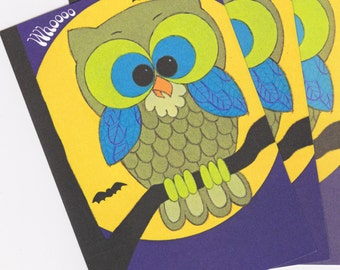 Whoooo Wishes You Happy Halloween- 1970s Vintage Cards- SET of 3- Haunted Forest Owl- 70s Decor- Paper Ephemera- Unused