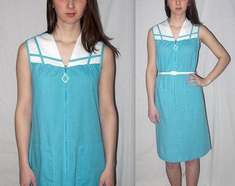Lulu .... Vintage 60s day dress / zip front sleeveless / 1960s mod housewife / mad men picnic summer frock shift .. S M