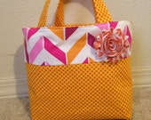 Reversible Pink , Orange and White LDS Scripture Tote Bag with Coordinating Orange Fabric