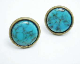 Turquoise Bezel Studs - Turquoise Earrings - Turquoise Studs