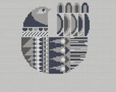 Danish Bird Cross Stitch Pattern PDF Pillow Cover