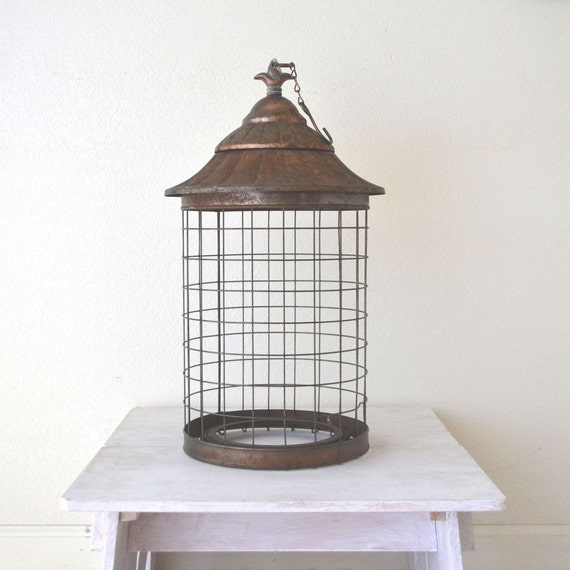 Hanging Metal Swag Lamp Cage Rusty Bronze Bird Cage Assemblage