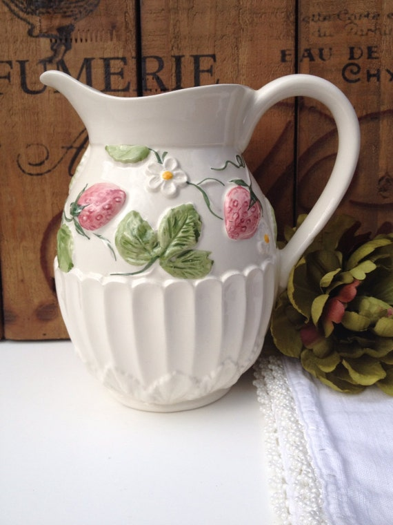 Vintage Strawberry Pitcher Neuwirth Porcelain By