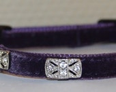 Silva- Breakaway swarovski purple velvet Cat Collar w/clear swarovski crystals -handmade original design cat collar
