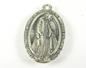 "Mother Mary Vintage Miraculous Vintage Sterling Silver Religious Medal Pendant on 18"" sterling silver rolo chain"