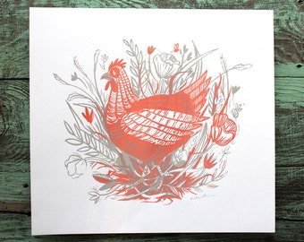 SALE! Chicken with Flowers in Field Screen Print Art Gray and Red