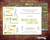 Printable Handyman Shower Invitations (digital file) DIY Printing at home or your choice of printer